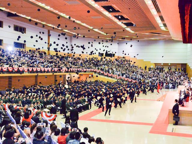 卒業式の帽子投げ